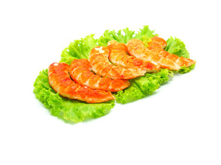 red shrimps tails with green fresh origanum and lettuce