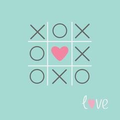 Tic tac toe game cross heart sign Love card Blue Flat
