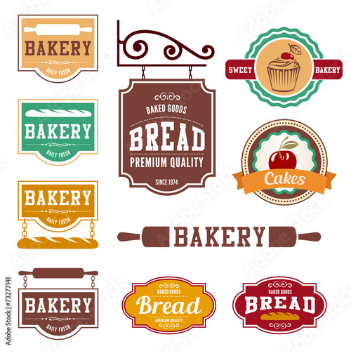 Bakery Vintage labels such as logo design vector templates