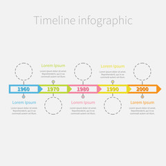 Timeline Infographic ribbon arrows circles text Template Flat