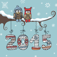 New year knitted figures,owl,branch