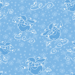 New year cheep skating.Christmas.Seamless pattern