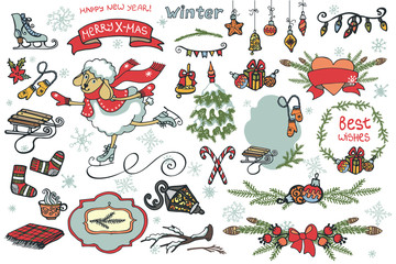 New year  cute sheep.Christmas  graphic elements