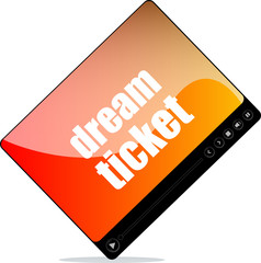 Video media player for web with dream tickets words