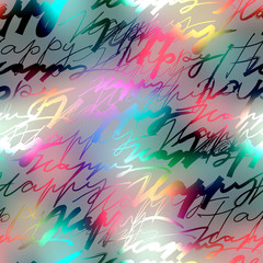 Inscriptions of word Happy on blur background