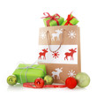 canvas print picture - Christmas Gift Bags with Presents and Balls