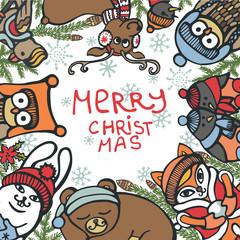 Christmas greeting card.Funny animals,birds,spruce