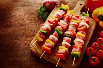 Fresh uncooked meat kebabs ready for grilling