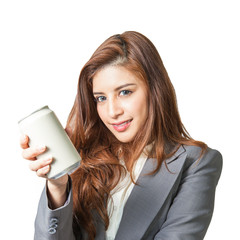 Young business woman attractive presenting a can of soft drink