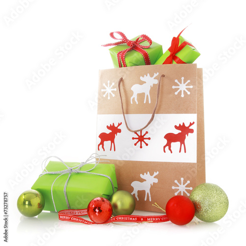 canvas print picture Christmas Gift Bags with Presents and Balls