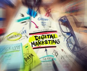 Desk with Tools and Notes About Digital Marketing