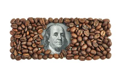 One hundred dollar bill made of coffee beans