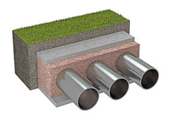 metal pipes under the ground isolated 3d