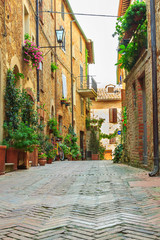 Narrow street in the old town,Pienza,Tuscany,Italy,Europe