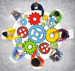 Group of People with Gear Symbol Photo Illustration