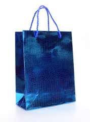 Blue luxury shopping bag on white
