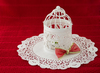 Vintage Christmas Lantern with a Bow Ornament