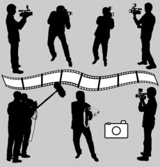 cameraman and photographers silhouettes - vector