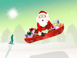 Santa Claus on snowboard