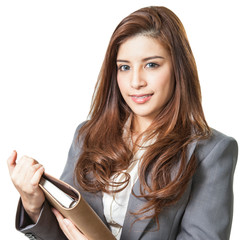 businesswoman smiling holding note book