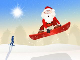 Santa Claus skier on snowboard