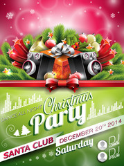 Vector Christmas Party design with holiday typographic elements