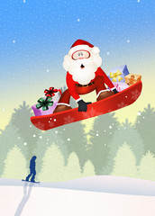 Santa Claus on snowboard