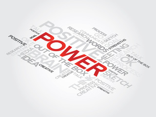 Power concept words in tag cloud,  presentation background