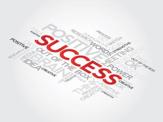 Success concept words tag cloud,  presentation background