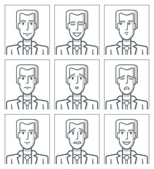 Facial expressions of a businessman. Simple line