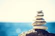 Leinwanddruck Bild - Stones balance, vintage pebbles stack background