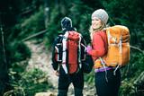 Fototapety Couple hikers walking vintage retro mountains