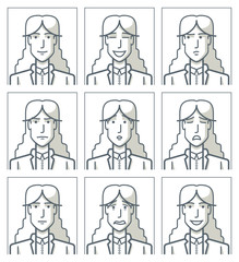 Facial expressions of a businesswoman. Simple line