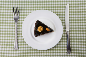 plate with a piece of chocolate cake. top view