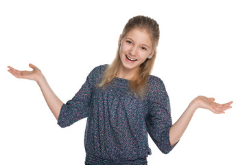 Cheerful preteen girl against the white
