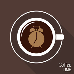 Cup of coffee with alarm clock on its surface. Coffee time