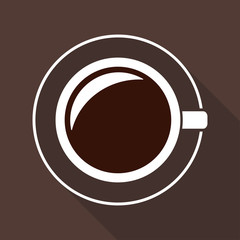 Coffee cup icon in flat style with long shadow. Top view