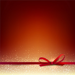 Elegant Christmas Red background with Red bow and place for text