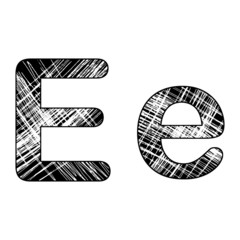 grunge scratch letter E alphabet symbol design on white.