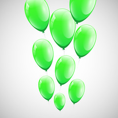 Green balloons with white background