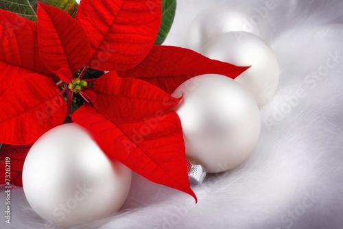 canvas print picture Weihnachten in Rot und Silber