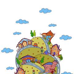 Vector scene with cartoon houses