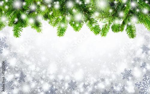 canvas print picture Tannenzweige und Schneeflocken