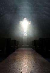 Stained Glass Window Crucifix Church