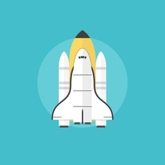 Startup launch flat icon illustration