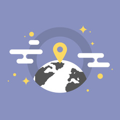 Global location flat icon illustration