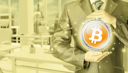 Businessman with protective gesture bitcoins