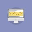 Data processing flat icon illustration