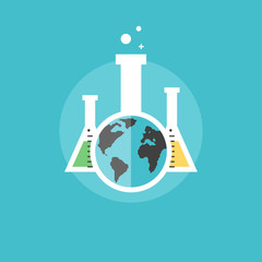 Global chemistry experiments flat icon illustration