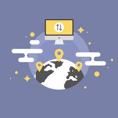 Worldwide communication flat icon illustration